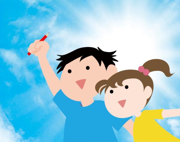 ペンを持つ男の子と女の子
